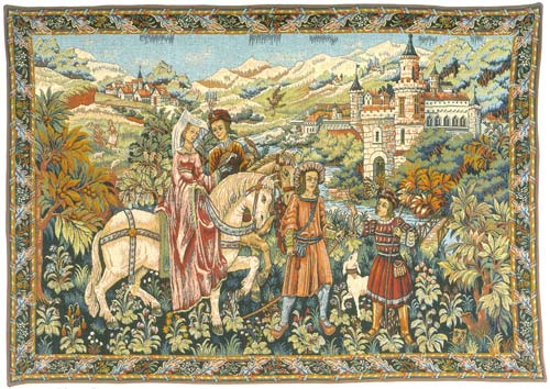 Duc De Berry Medieval Wall Tapestry - Knight & Lady Picture, 36in X 54in
