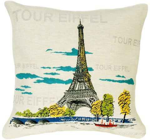 Eiffel Tour City View Tapestry Cushion Cover - Pop Home Decor Collection, 18in x 18in cushion cover