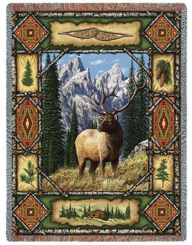 Elk Lodge Tapestry Throw, 53in x 70in