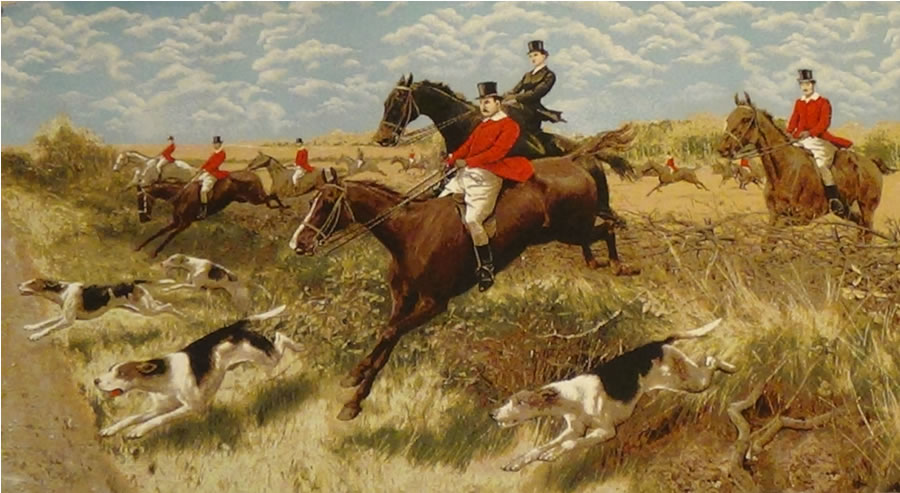 English Hunt III Tapestry Wall Hanging, H28in x W52in