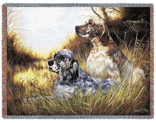 English Setter Tapestry Throw, 70in x 53in