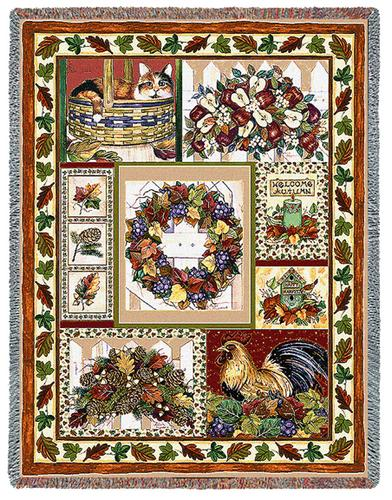Fall Patchwork Tapestry Throw, 54in x 70in