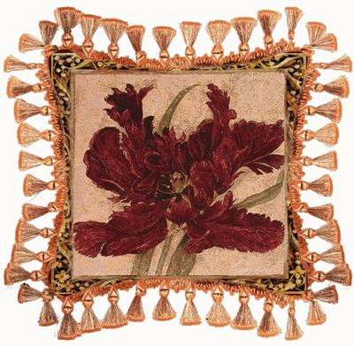 Fire Red Tulip Modern Tapestry Cushion - Floral Design, 27in x 27in
