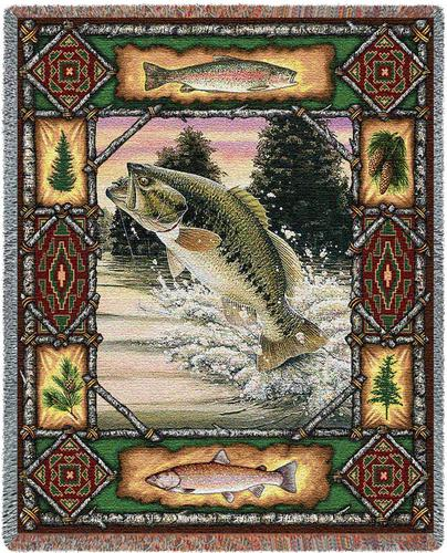 Fish Lodge Tapestry Throw, 54in x 70in