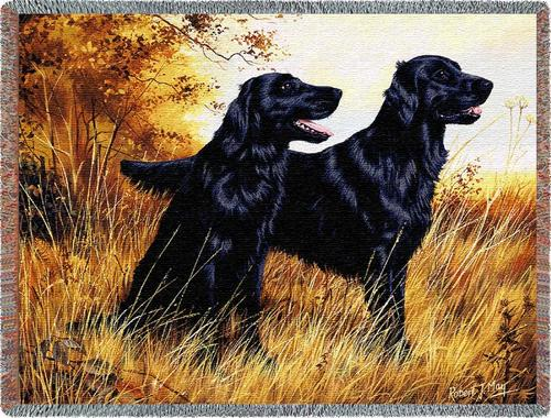 Flatcoat Retreiver Tapestry Throw, 70in x 53in