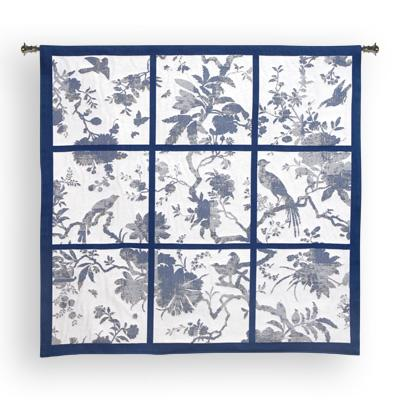 Floral Division Blue / Oyster Bird Wall Tapestry - Contemporary Collage With Birds, 44in x 41in