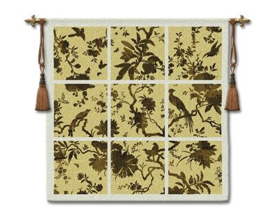 Floral Division Gold Bird Wall Tapestry - Contemporary Collage With Birds, 45in x 45in