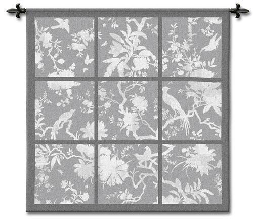 Floral Division Gray Bird Wall Tapestry - Contemporary Collage With Birds, 45in x 45in
