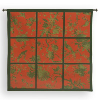 Floral Division Red / Gold / Black Bird Wall Tapestry - Contemporary Collage With Birds, 44in x 41in