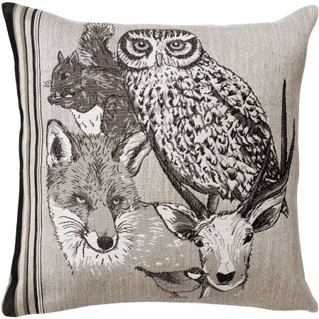 Forest Spirit Hibou Tapestry Cushion Cover - Wild Life Collection, 18in x 18in cushion cover