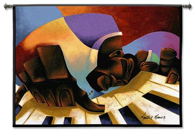 Frankie Fingertips Contemporary Wall Tapestry - Abstract Music Collage, 34in x 26in