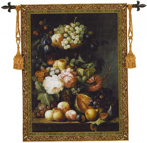 Fruit Medley Tapestry Wall Hanging - Classic Still Life with Fruits & Grapes, 53in x 76in