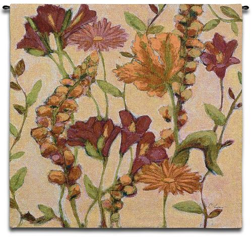 Garden Blooms Contemporary Wall Tapestry - Botanical Design In Bright Colors, 35in x 35in