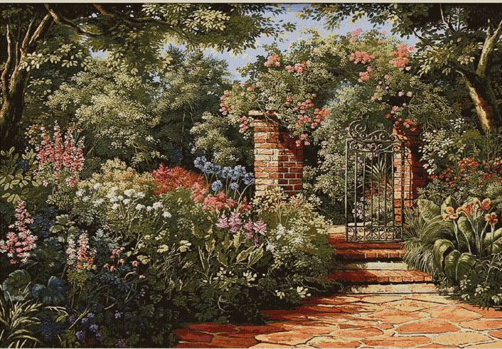 Victorian Garden Gate Tapestry Wall Hanging, H40in x W52in