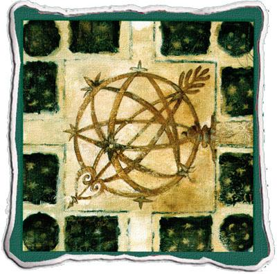Garden Globe Contemporary Tapestry Cushion - Geometric Collage, 17in x 17in