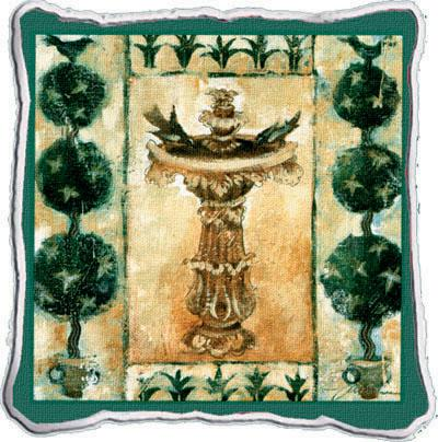 Garden Oasis Abstract Tapestry Cushion - Classic Collage, 17in x 17in