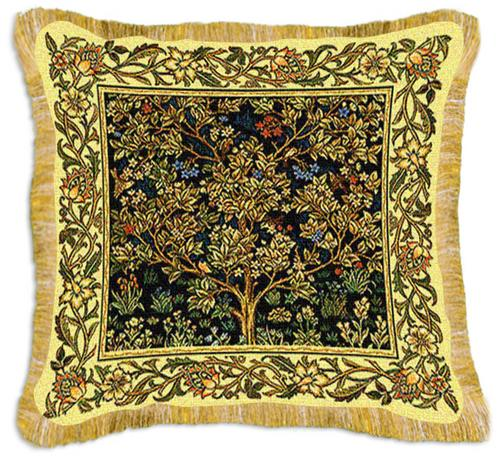 Garden of Delight Classic Styled Tapestry Cushion - The Tree Of Life Inspired Design, 29in x 17in