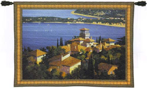 Garden On The Cote D'Azur Seaside Tapestry Wall Hanging, 53in x 38in