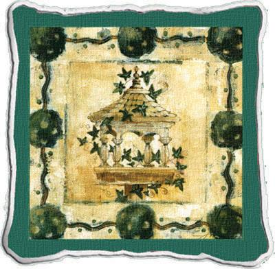 Garden View Abstract Tapestry Cushion - Classic Collage, 17in x 17in
