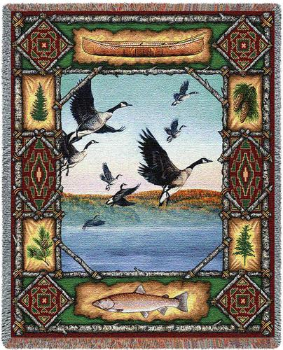 Geese Lodge Tapestry Throw, 54in x 70in