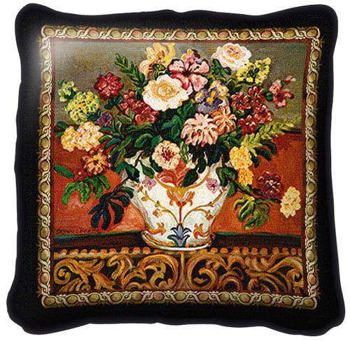 Gena'S Vase Tapestry Wall Hanging - Floral Bouquet Picture, 44in x 44in