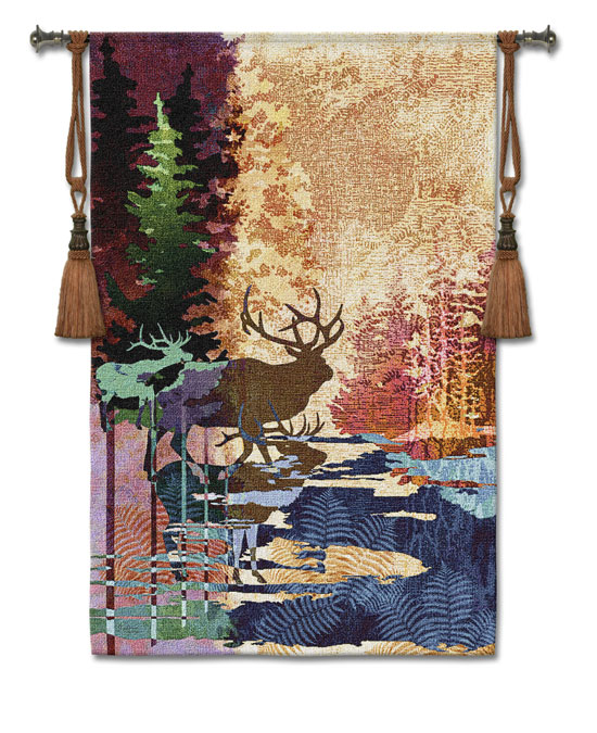Ghosts Of The Tall Timber Animal Tapestry Wall Hanging - Elk Picture, 83in X 53in