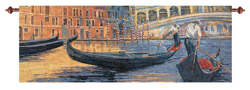 Gondola Ride 2 Venice At Night City Picture Tapestry Wall Hanging, 70in X 26in