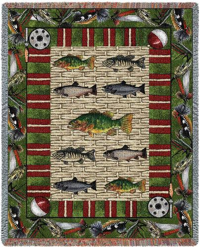 Gone Fishing Tapestry Throw, 70in x 53in