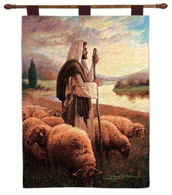 Good Shepherd Tapestry Wall Hanging - Religious Picture, 26in X 36in