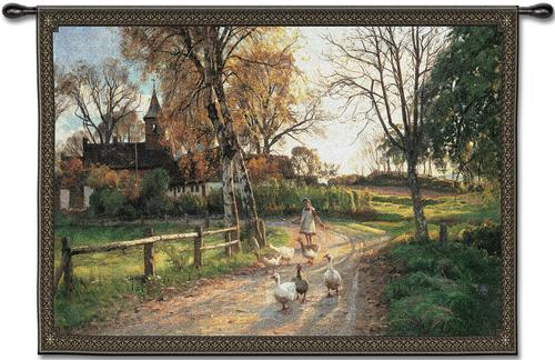 Goose Girl Tapestry Wall Hanging - Country Scene, 53in x 38in