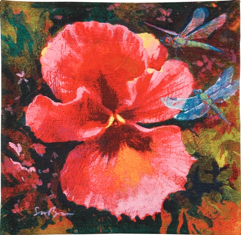 Gratitude Contemporary Floral Tapestry - from the art work of Simon Bull, 21in x 21in