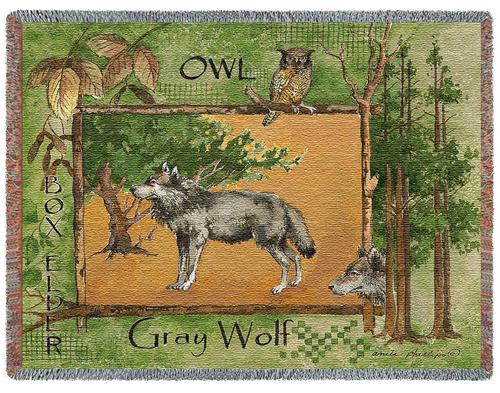 Gray Wolf Tapestry Throw, 54in x 70in