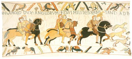 Guillaume Le Conquerant Knight Tapestry Wall Hanging - Bayeux Design, 29in X 62in