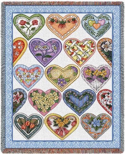 Hearts To You Tapestry Throw, 53in x 70in