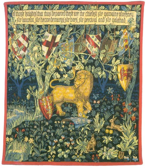 Heraldic Lion William Morris Wall Tapestry - Medieval Picture, 36in X 28in