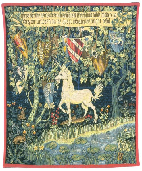 Heraldic Unicorn William Morris Wall Tapestry - Medieval Picture, 50in x 40in
