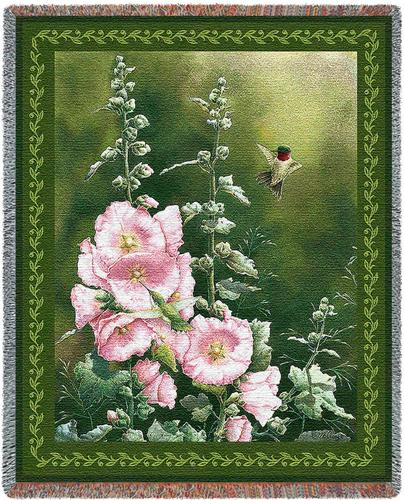 Hollyhock Hummer Tapestry Throw, 54in x 70in