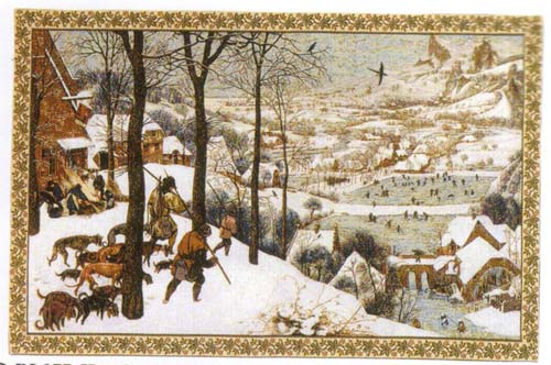 Hunting In The Snow Tapestry Wall Hanging, 25in X 43in