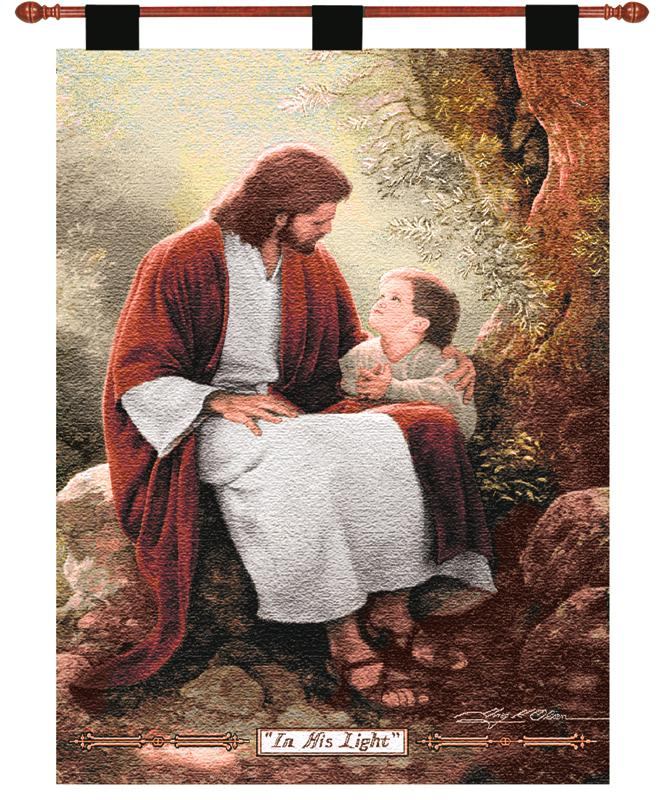 In His Light Tapestry Wall Hanging - Religious Picture, 26in X 36in