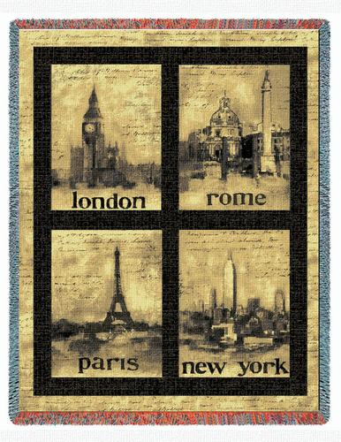 International Cities Tapestry Throw, 54in x 70in