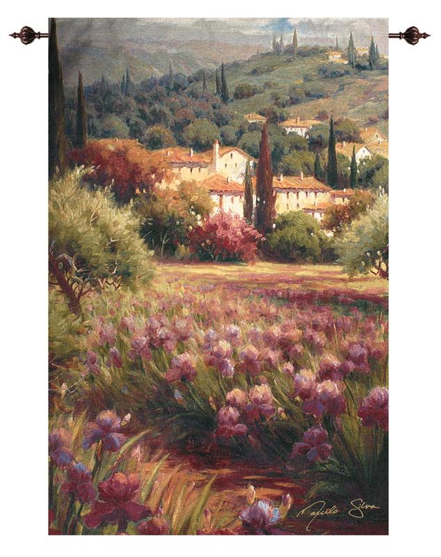 Iris Fields Tuscan Countryside Tapestry Wall Hanging, 50in X 70in