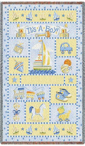 It's a Boy Mini Tapestry Throw, 54in x 35in