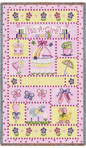 It's a Girl Mini Tapestry Throw, 54in x 35in