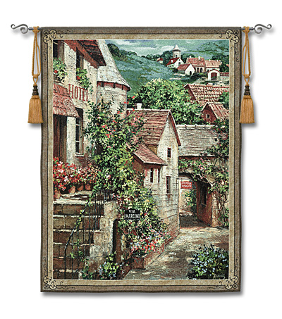 Italian Country Village I Tapestry Wall Hanging - Tuscan Picture, 42in x 53in