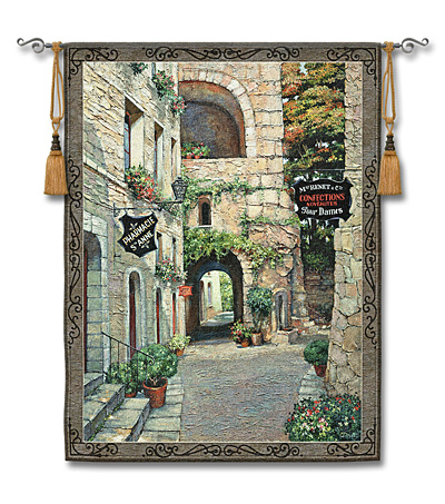 Italian Country Village II Tapestry - Tuscan Village Picture, 42in x 53in