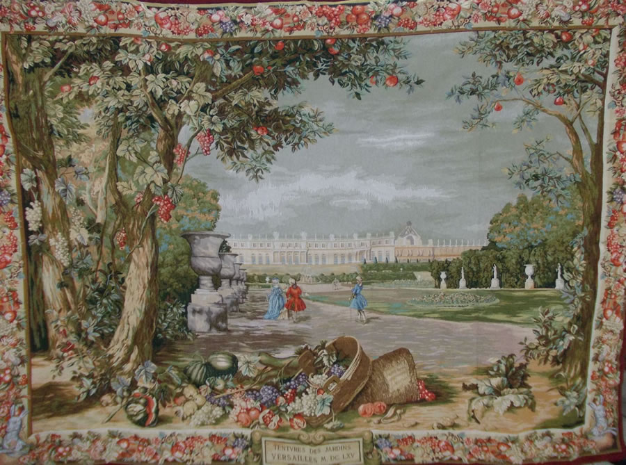 Gardins de Versailles Tapestry Wall Hanging, 77in x 56in - European Home Decor