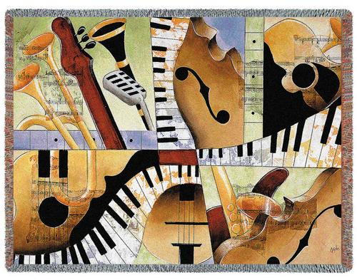 Jazz Medley I Tapestry Throw, 54in x 70in