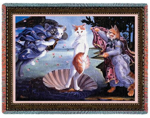 Kitty on a Half Shell Tapestry Throw, 70in x 53in
