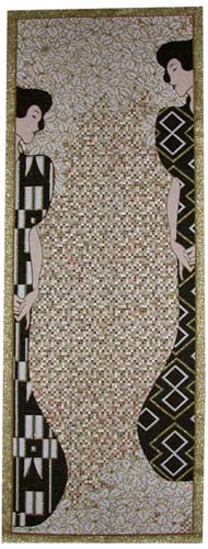 Silhouettes Abstract Painting Tapestry Wall Hanging - Gustav Klimt Art, 78in X 28in