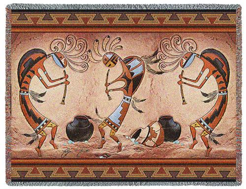Southwest Pot Dance Tapestry Throw, 70in x 54in